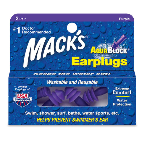 Mack's Aqua Blocks Earplugs - Purple 2 Pairs