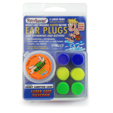 Putty Buddies - FloTek Silicone Floating Ear Plugs - 3 Pack
