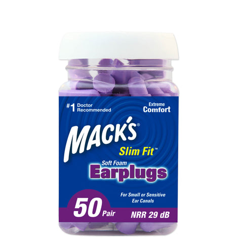 Macks Safesound Slim Fit Soft Foam Earplugs - 50 Pair Jar