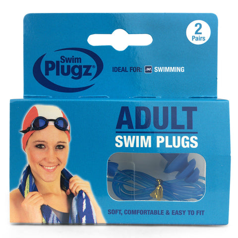Swim Plugz Silicone Ear Plugs for Adults - 2 Pairs