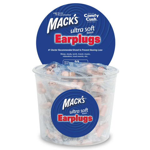 Mack's Ultra Safe Sound Soft Foam Earplugs - 100 Pairs Tub