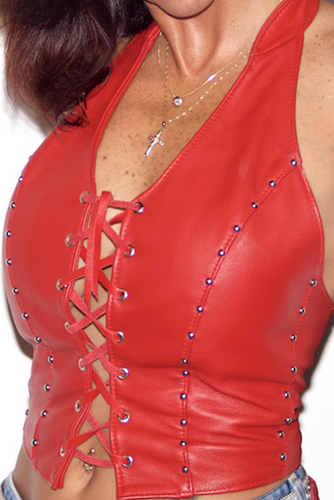 V-TOP Lace Front/ Studded/Rhinestones/Grommets/Flames