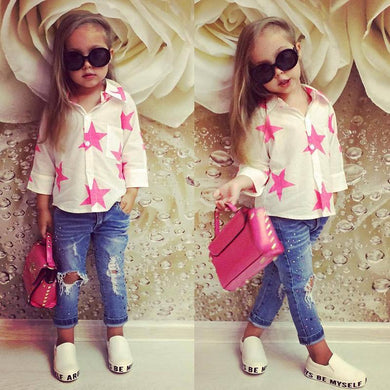 Girls Printed Stars Long Sleeves Top + Kids Jeans Sets
