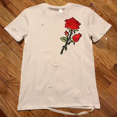 RAVAGED ROSE T-SHIRT (WHITE)