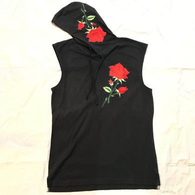RAVAGED ROSE SLEEVELESS HOODIE (BLACK)