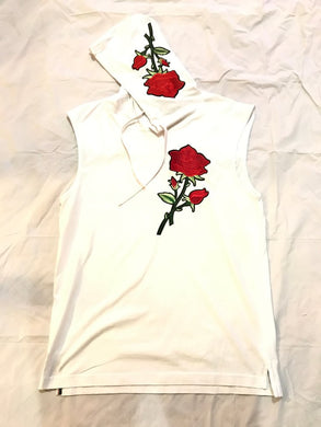 RAVAGED ROSE SLEEVELESS HOODIE (WHITE)