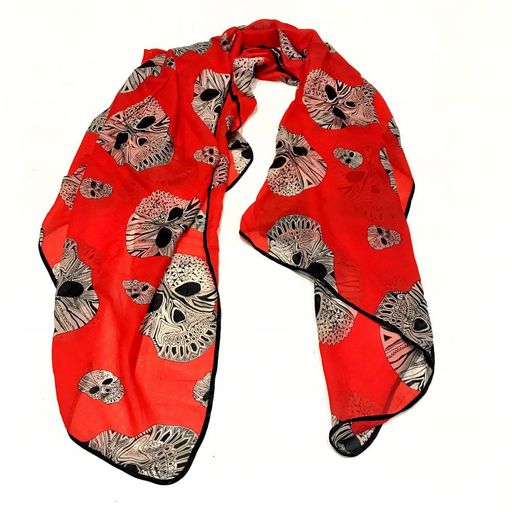 ABSTRACT SKULL SCARF (RED)