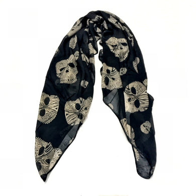 ABSTRACT SKULL SCARF (BLACK)