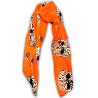 ABSTRACT SKULL SCARF (ORANGE)