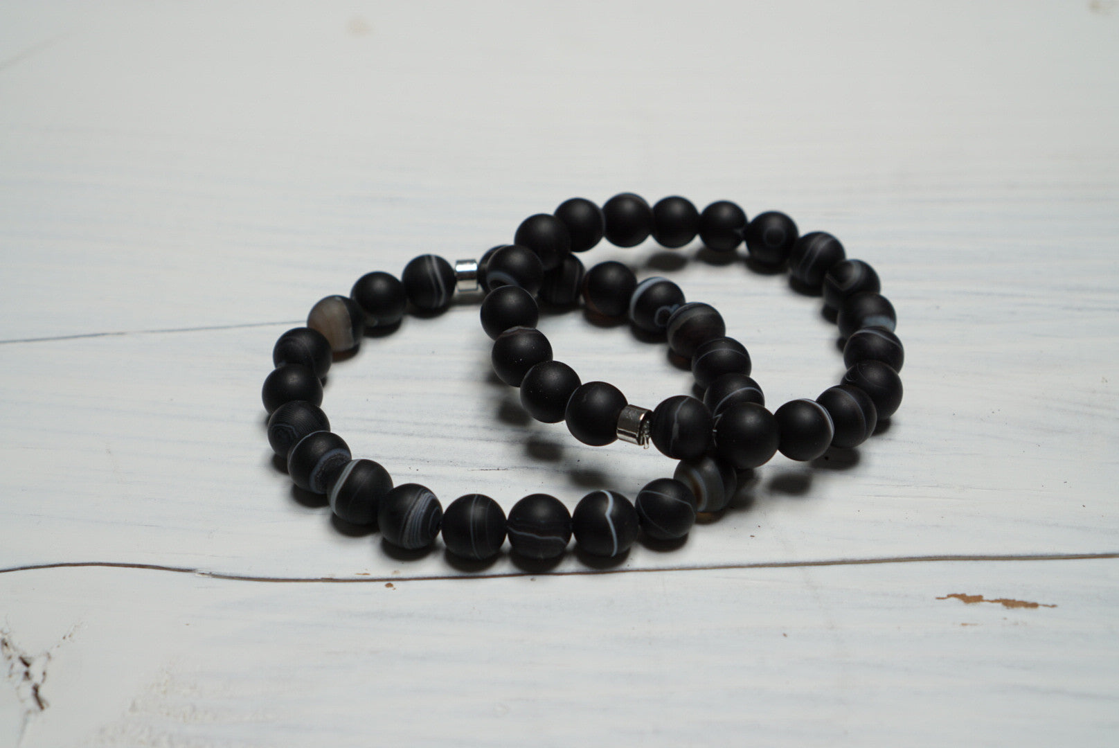 Black Agate - Healing Stone and Energy Bracelet/ Good Fortune/ Great Spirit