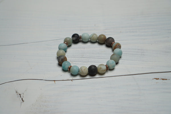 Amazonite Healing Bracelet- Yoga Jewelry/ Soothing Stone/Dispels Negative Energy/ Alleviates Worry