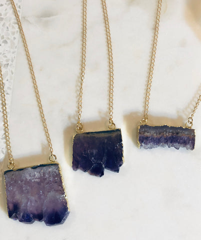 Raw Amethyst Necklace (M)