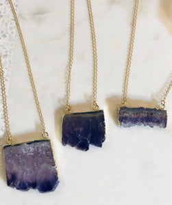Raw Amethyst Slice Necklace (S)