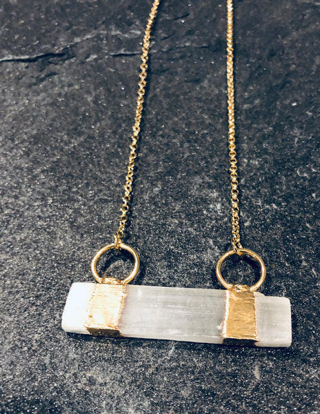 Selenite Bar Necklace