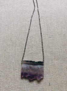 Raw Amethyst Chunk Necklace (silver)
