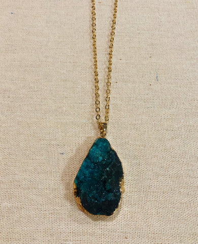 Large Druzy Agate Necklace Green