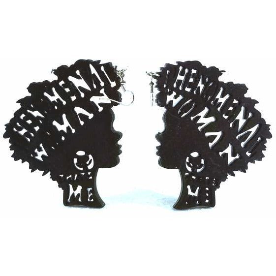 """Phenomenal Woman, That's Me!"" Positive Affirmation, Bohemian, Afrocentric, Afro-Punk Wood Black Earrings"