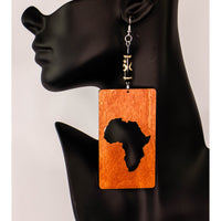 Rectangle Africa Cut-out Wood Earrings