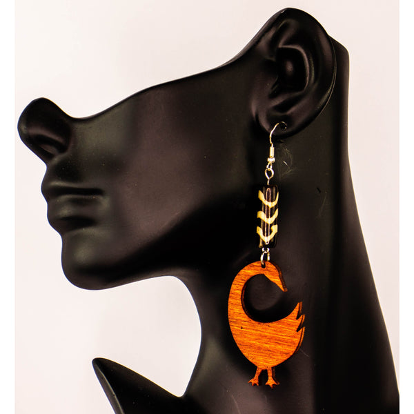 'SANKOFA BIRD' Adinkra symbol, Afrocentric/Bohemian/Cultural Conscious/ Afro-Punk Wood Earrings Brown
