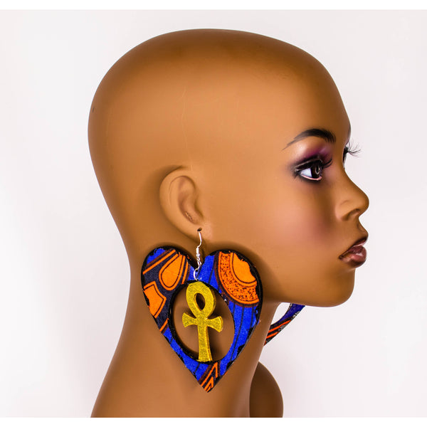Heart shape-Ankh/ Adinkra symbol/ Afrocentric/Bohemian/Cultural Conscious/Afro-Punk/West Africa Wood Earrings/Africa Print Fabric