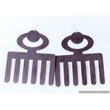 DUAFE Symbol-West African/Cultural Conscious/ Bohemian/ Afro-Punk Wood Earrings black