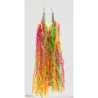 Rainbow Sherbet Color, Yellow, Pink, Green Fringe-Tassel Earrings, Statement Earrings, Afro Punk, Dangle Boho Earrings, Bohemian Earrings