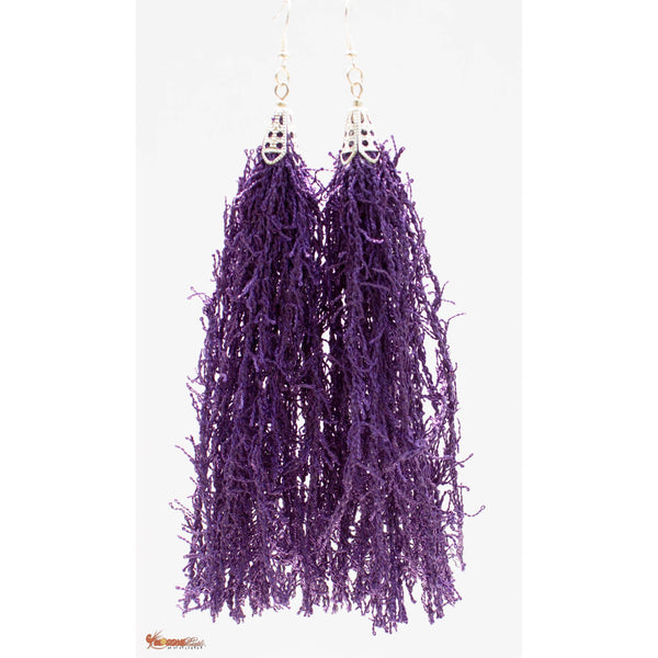 Royalty Purple Fringe-Tassel Earrings, Statement Earrings, Dangle Afro-Punk Earrings, Bohemian Earrings