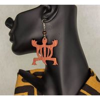 DENKYEM/ Adinkra symbol/ Afrocentric/Bohemian/Cultural Conscious/Afro-Punk/West Africa Wood Earrings brown