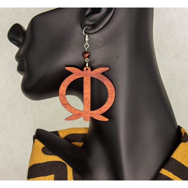 WAWA ABA Adinkra symbol/ Afrocentric/Bohemian/Cultural Conscious/Afro-Punk/West Africa Wood Earrings brown