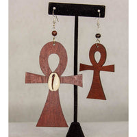 ANKH with Crowie Shell -Cultural Conscious/West African/AfroPunk Wood Brown Earring