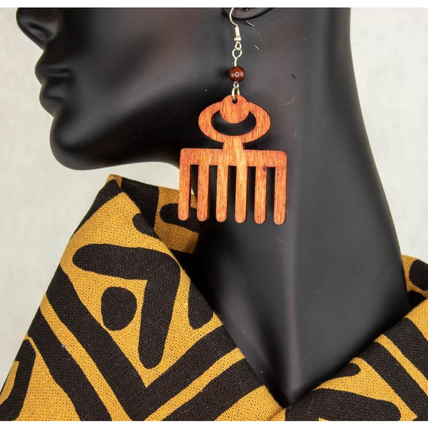 DUAFE/ Adinkra symbol/ Afrocentric/Bohemian/Cultural Conscious/Afro-Punk/West Africa Wood Earrings