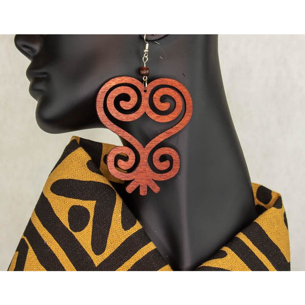 'SANKOFA' Adinkra Symbol/West Africa/Cultural Conscious/ Afro-Punk Wood Earrings brown