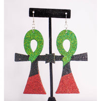 Ankh Afrocentric Red, Black, & Green Glitter Earring