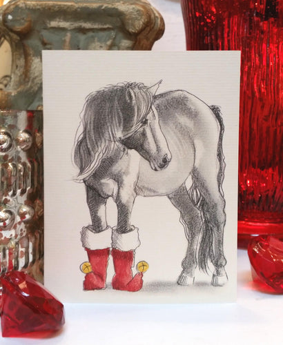 Buy elegant Horse in Boots Holiday Card for $3.75 by Rachel Canada Artist