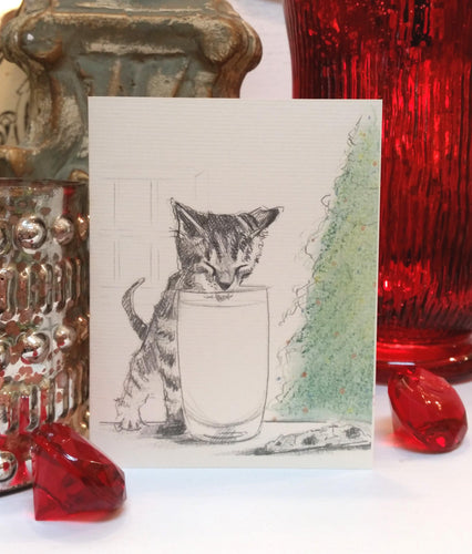 Buy elegant Milk Kitten Holiday Card for $3.75 by Rachel Canada Artist