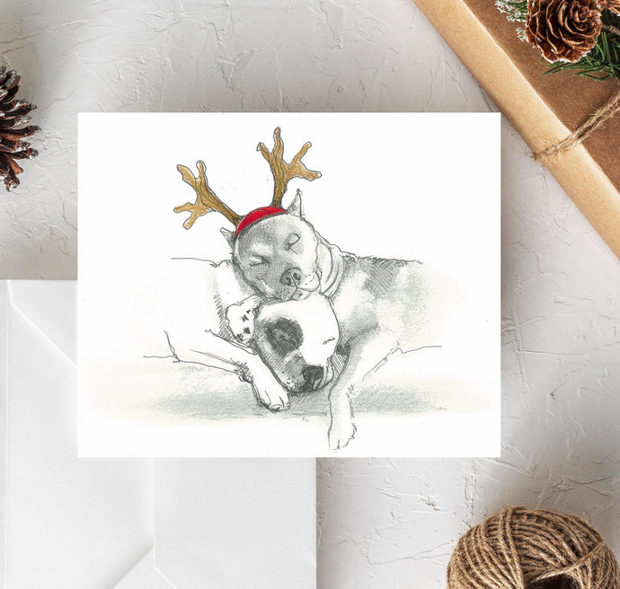 Pit bull terrier christmas card