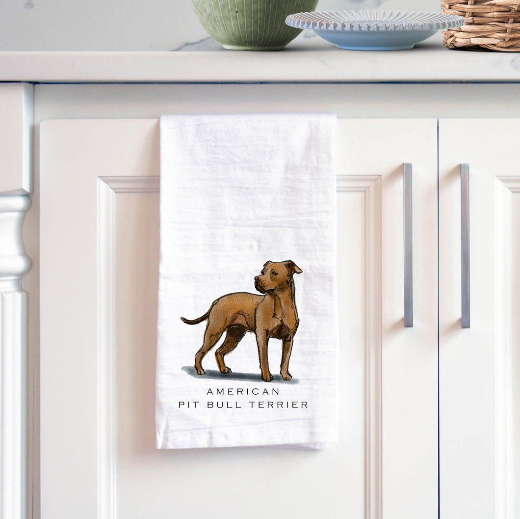 pit bull terrier white cotton tea towel