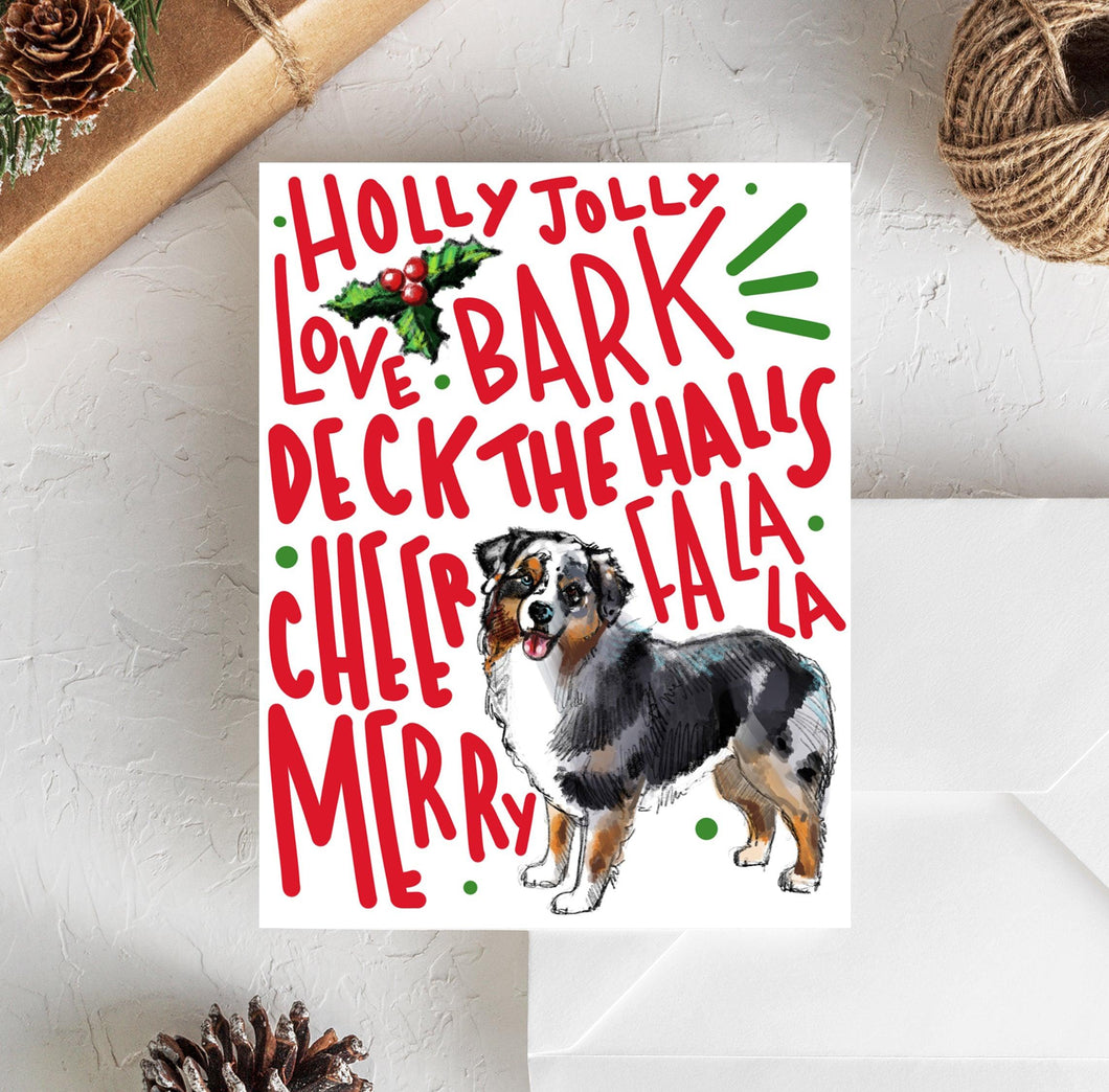 australian shepherd christmas card