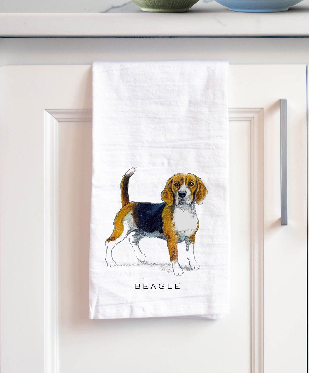 Beagle white cotton kitchen towel