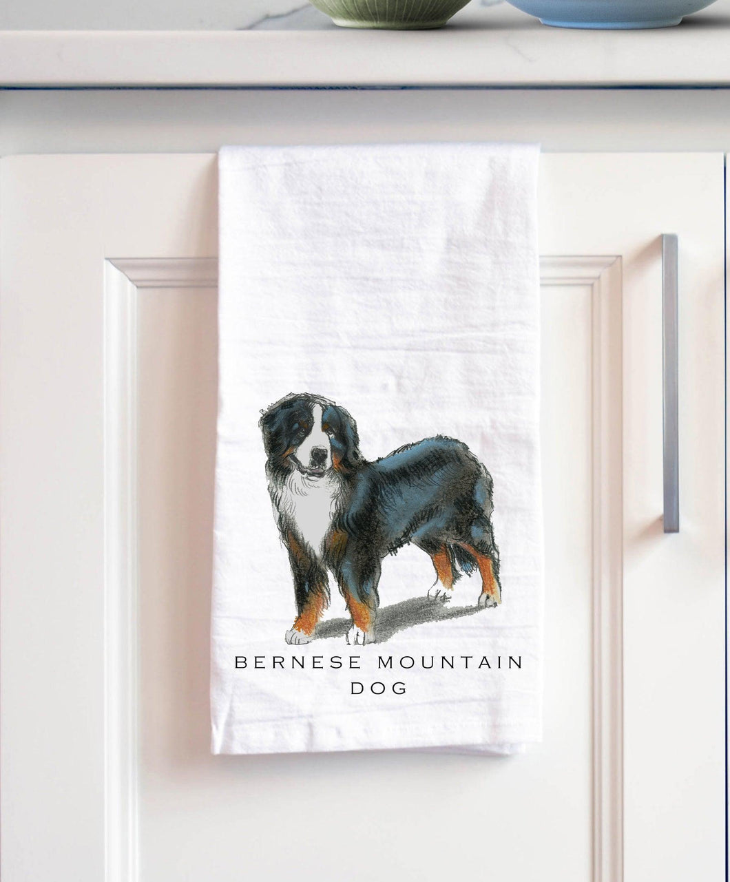 Bernese Mountain Dog white cotton kitchen towel