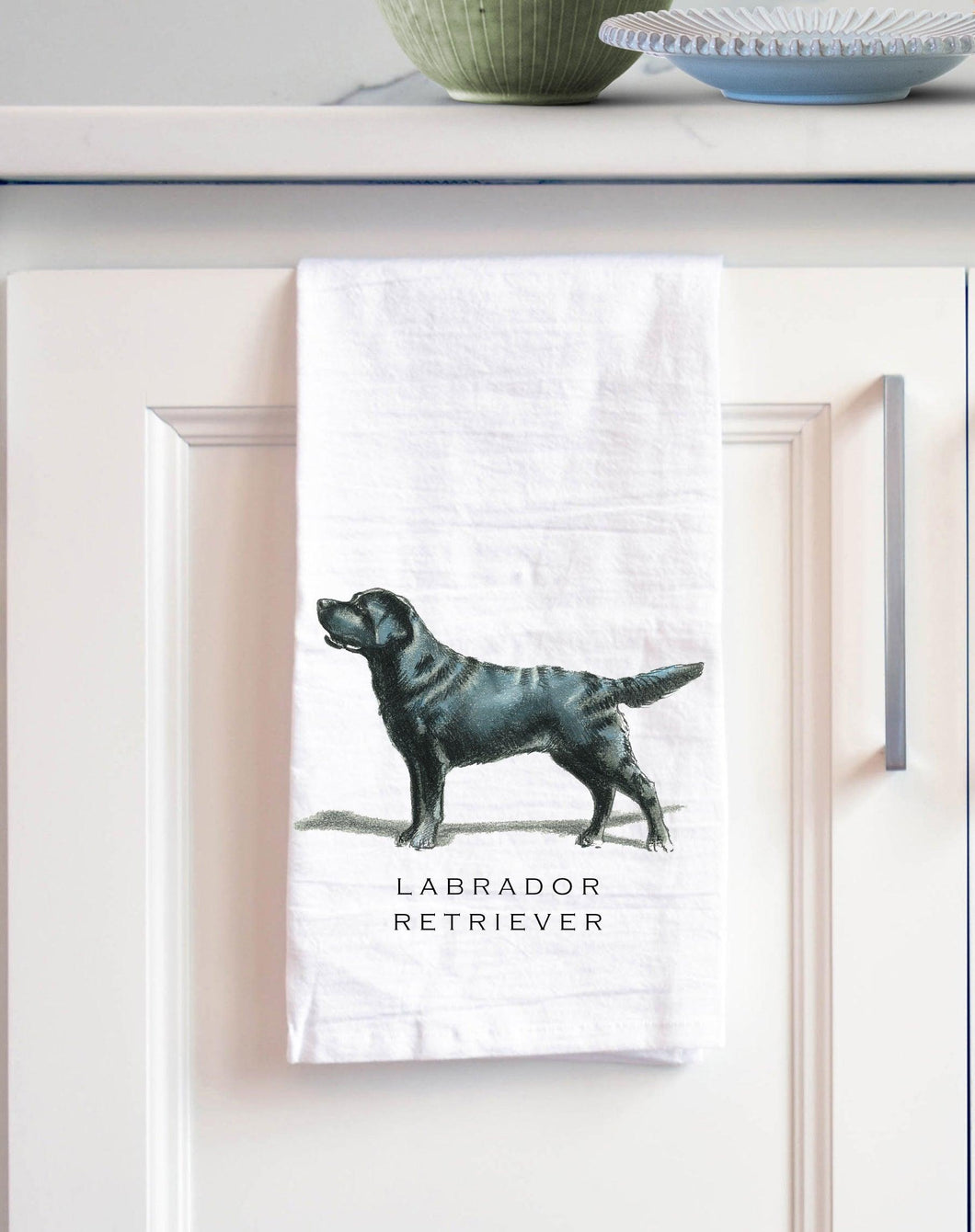 black Labrador white cotton kitchen towel