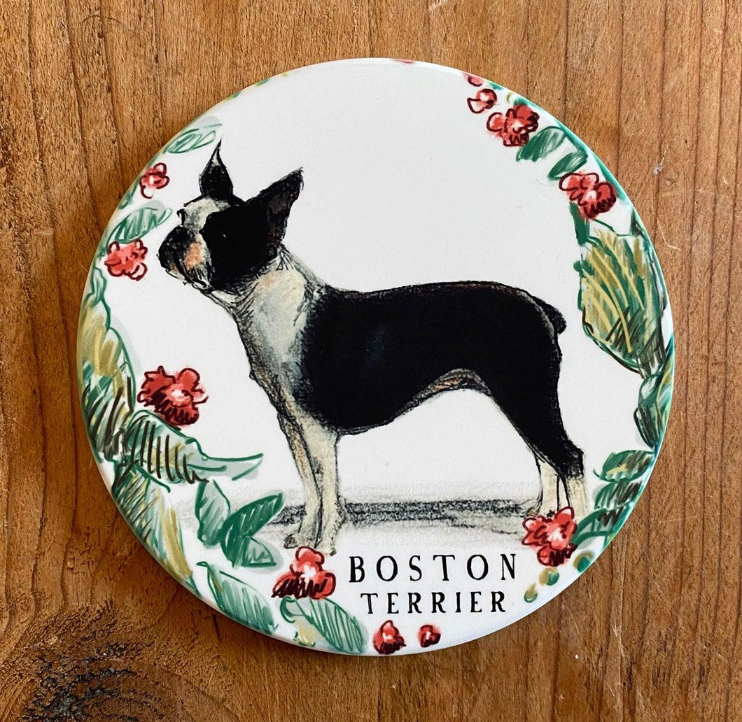 sandstone boston terrier coaster