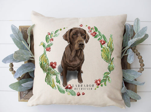 Floral Wreath Pillow - Chocolate Labrador retriever