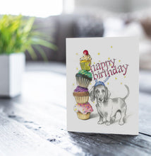 Cupcake Dachshund Birthday Card