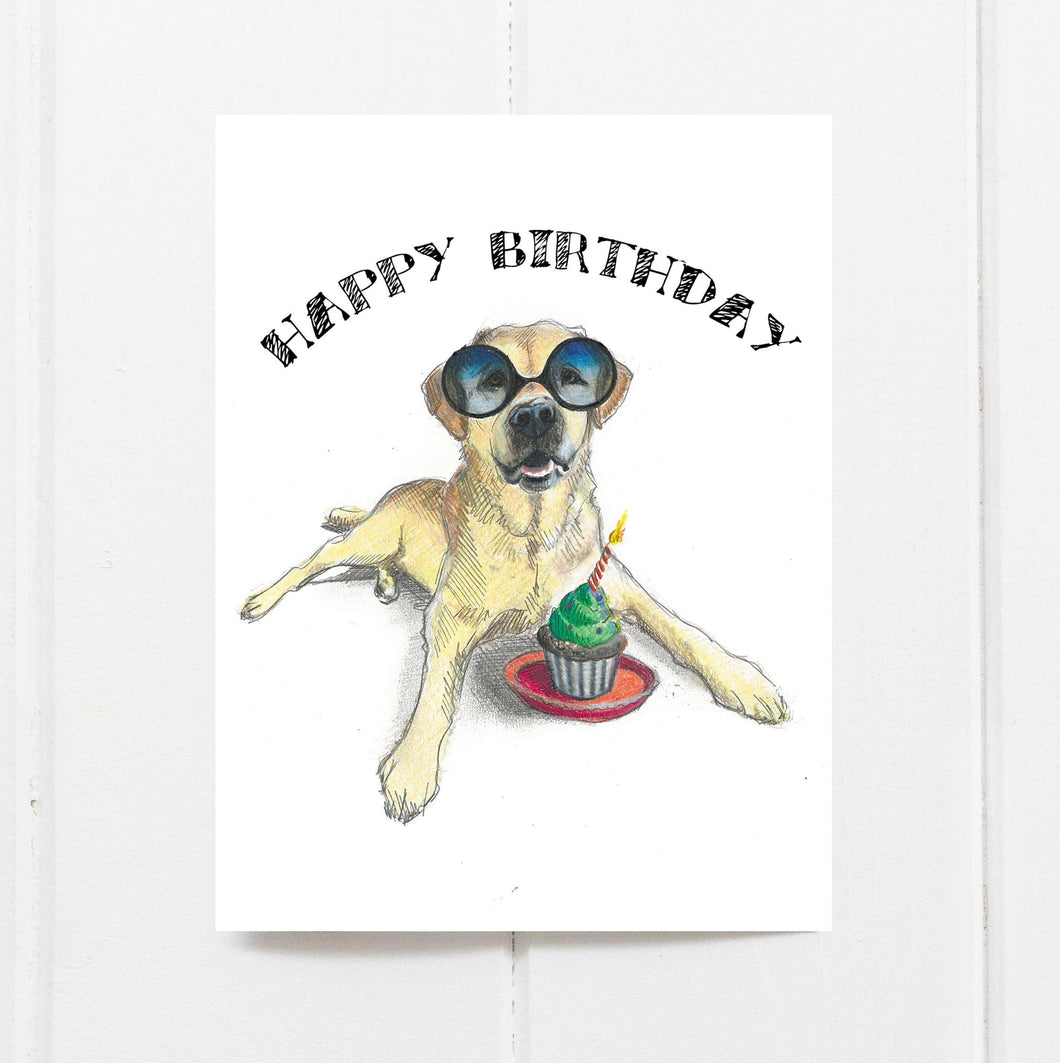 Cupcake Labrador Birthday Card