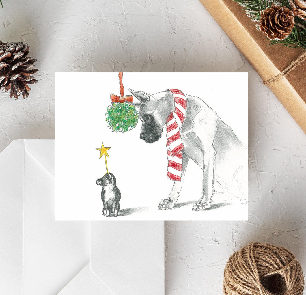 great dane and chihuahua christmas card