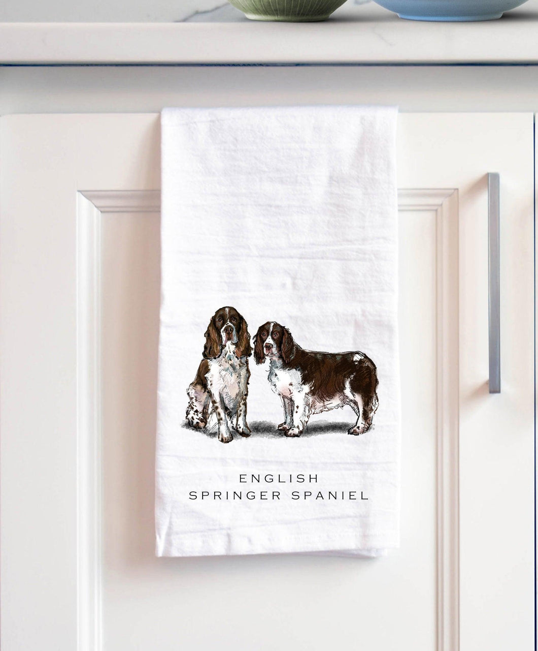 English springer spaniel white cotton kitchen towel