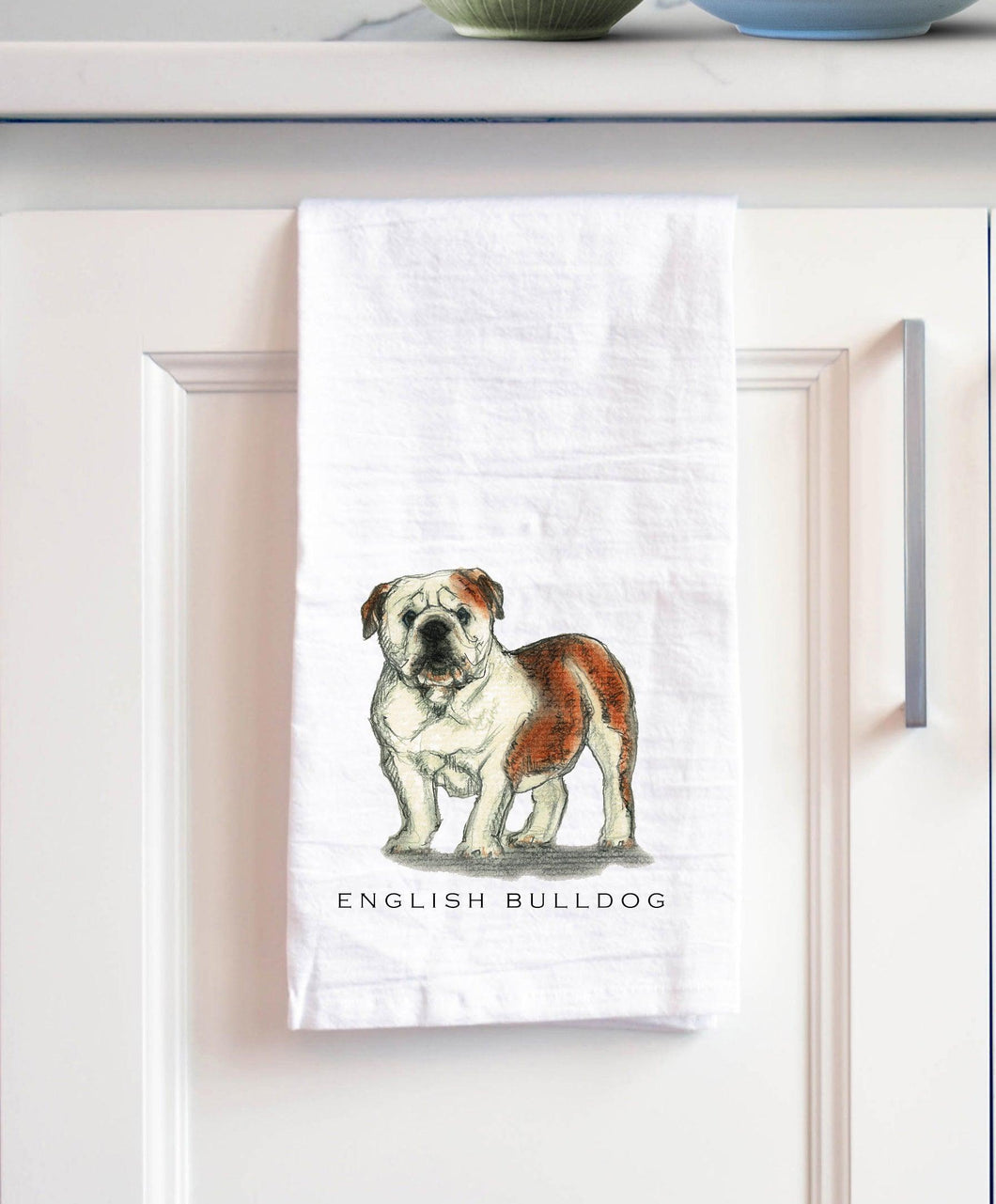 English Bulldog white cotton kitchen towel