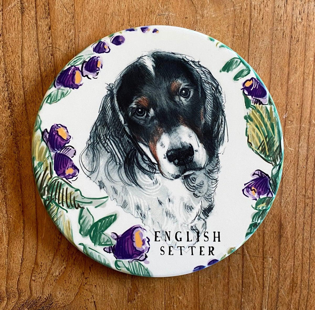 sandstone English setter coaster