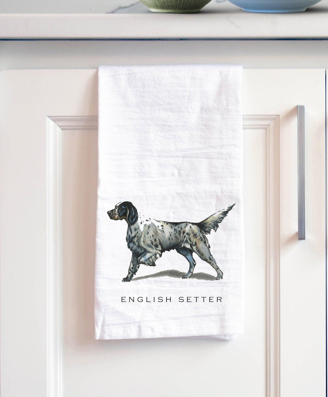 English setter white cotton kitchen towel